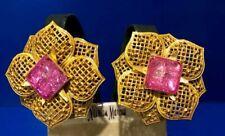 Philippe Ferrandis Floral Gold Tone Mesh Earrings w Pink Gripoix Neiman Marcus