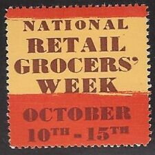 "USA Poster stamp: Vintage ""National Retail Grocer's Week"" October 10-15th -dw232"