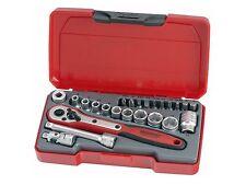 Teng Tools 24 Pce 1/4 Drive Socket Ratchet Extension Screwdriver Bits Tool Set