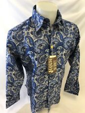 Mens MANZINI Button Down Dress Shirt ROYAL NAVY SILVER PAISLEY FRENCH CUFF 275
