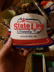vintage Stateline Supply Company Bradford PA three-line hat red white blue usa