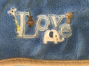 Carters Just One You Blue Baby Blanket LOVE Elephant Monkey Giraffe Tan Trim
