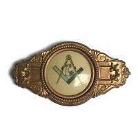 Antique Vintage Masons Masonic Grave Marker Arm Metal Badge Celluloid Pressed