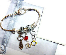 50 Fifty Shades of Grey Inspired SP Bracelet Grey's Tie Handcuffs Grey Beads
