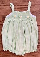House of Hatten Girls Smocked Bubble Romper Green White Check Daisies Size 4T