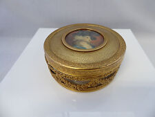 Antique Apollo Powder Vanity Jar Box w/Miniature Painting Garland