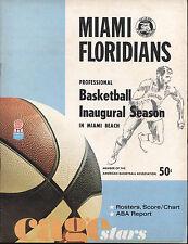 1968-69 Miami Floridians vs Kentucky Colonels ABA Basketball Program 11-18- 1968