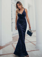 Ever-Pretty US Spaghetti Strap Velvet Long Evening Dress Fishtail Celebrity Gown
