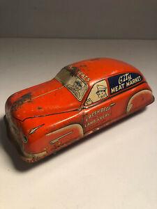 Vintage Courtland CITY MEAT MARKET windup tin toy car - works, somewhat