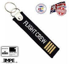 *New*  FLIGHT CREW captain pilot tag bag label key chain ring Airbus Boeing