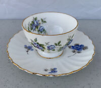 Aynsley England Bone China Blue/green Floral Tea Cup & Saucer