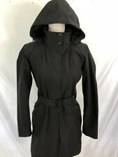 NORTH FACE HYVENT JACKET Medium Black Long Belted Waterproof Trench Coat Hood