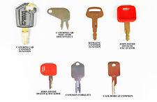 7 Heavy Equipment Ignition Keys Set  CAT Case JD Hitachi Hyster Komatsu Bobcat