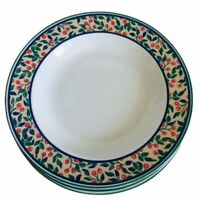 """3 Tognana Italy Soup Salad Pasta Rimmed Bowl 9"""" Red Berries Italian Porcelain"""