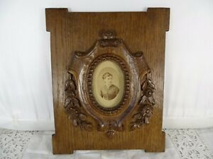 "10.5""  Antique French Large Folk Art Hand Carved Picutre Frame Oak Wood-19th"