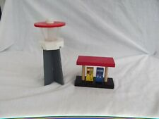 Wooden Train Set Train station-service & AIR TRAFFIC TOWER, Brio compatible