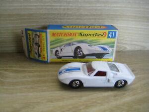 MATCHBOX SUPERFAST (69-83) MB41A FORD GT   White No 6 Black Base
