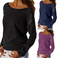 Women Lady Casual Round Neck Ripped Long Sleeve Pearl Beaded T-Shirt Tops Blouse