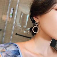 Fashion Round Half Crystal Half Pearl Circle Stud Earrings Women Ear Jewelry