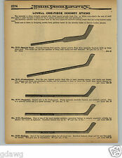 1929 PAPER AD 4 PG Lovell One Piece Hockey Sticks Goalie Goal Strand Skis Skates
