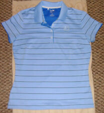 Womens Blue W Stripes Adidas Golf Shirt Size M Climalite Material Athletic nice!