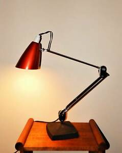 Vintage Mid Century Planet Red Anodised Articulated Desk Lamp
