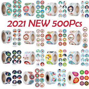 2021 NEW Merry Christmas Thank You Stickers Labels Gift Seals 2.5CM 500Pcs Roll
