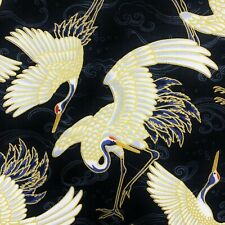 Cranes Japanese fabric, stork heron, black gold cotton Chinese Oriental Asian
