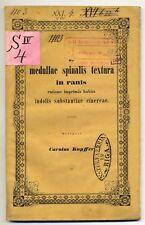 1854 De Medullae Spinalis Textura In Ranis . Original Latin Edition Carl Kupffer