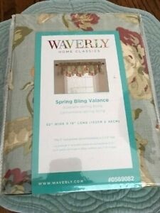 """NWT Waverly Spring Bling 52"""" Curtain Valance Coral Pink Roses & Stripes Cottage"""