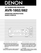 Denon AVR-882 AVR-1802 Receiver Owners Manual