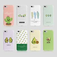 Personalised Initials iPhone Samsung Hard Phone Case Kawaii Cactus Avocado Cacto
