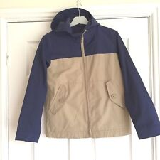 Gap Kids Boys Hooded Rain/Wind Jacket Fleece Lined XL Navy & Beige Outerwear VGC