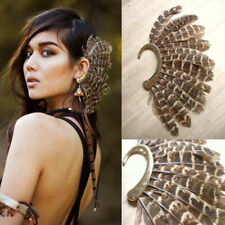 Large Gothic Punk Feather Earring Cuff Clip Ear Wrap Non Piercing