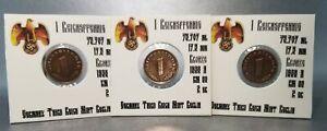 💰1937 1938 WWII German 1 Reichspfennig Third Reich Bronze 1 coin Free shipping