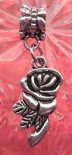 Silver Rose European Charm beads fits European Charm Bracelet