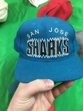 VTG Starter San Jose Sharks NHL Snapback Hat Block Letters Teal 100% Wool Rare