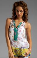Ella Moss Citrus Floral Silk Blouse Top S Sleeveless ETZYP13891 Anthropologie