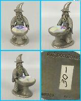 Vintage Spoontiques WIZARD w Crystal Cauldron Pewter Statue - MR923