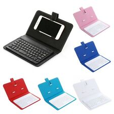 Portable Wireless Bluetooth Keyboard +Faux Leather Case Cover for iPhone Sumsung