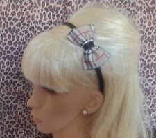 "NEW BEIGE NOVA TARTAN PLAID CHECK FABRIC SMALL 3"" SIDE BOW ALICE HAIR HEAD BAND"