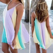 Mini Women Chiffon Rainbow Skirt Summer Beach Wear Dress Cover Up Kaftan  good