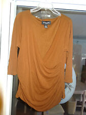 """MY FAVORITE THINGS BY COLLEEN LOPEZ """"Chocolate V Crisscross Neck Top"""" Size 1X"""