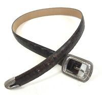 Brighton Women Leather Belt Sz M 30 Brown Embossed Leather Silver Buckle Etched