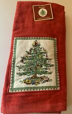 Spode Christmas Tree 2 Red Appliqued Kitchen Dish Towels  New