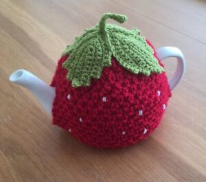 Hand knitted Strawberry Tea Cosy for a medium or large tea pot (4-6 cups)