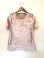 Occasion Womens Blush Pink Crushed Velvet Look Short Sleeve Boho Crop Top XL