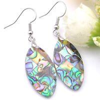 100% Handmade Natural Rainbow Abalone Shell Gemstone Silver Dangle Earrings