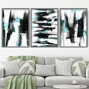 3 Abstract Black & Aqua Art Prints from Original Textured Painting Mix Size V2
