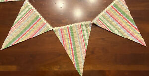 """NEW Handmade Quilt Bunting Pennant Banner 50"""" Vintage Wholecloth Quilt & RicRac"""
